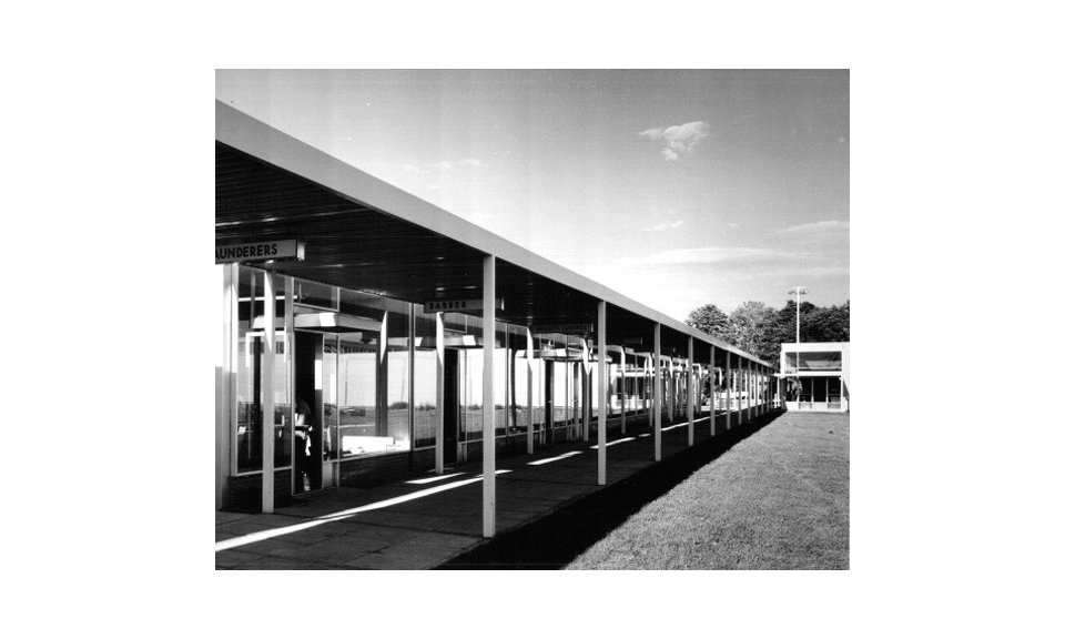 Don Mills Convenience Centre, exterior with covered walkway, 1955 - Panda Archives