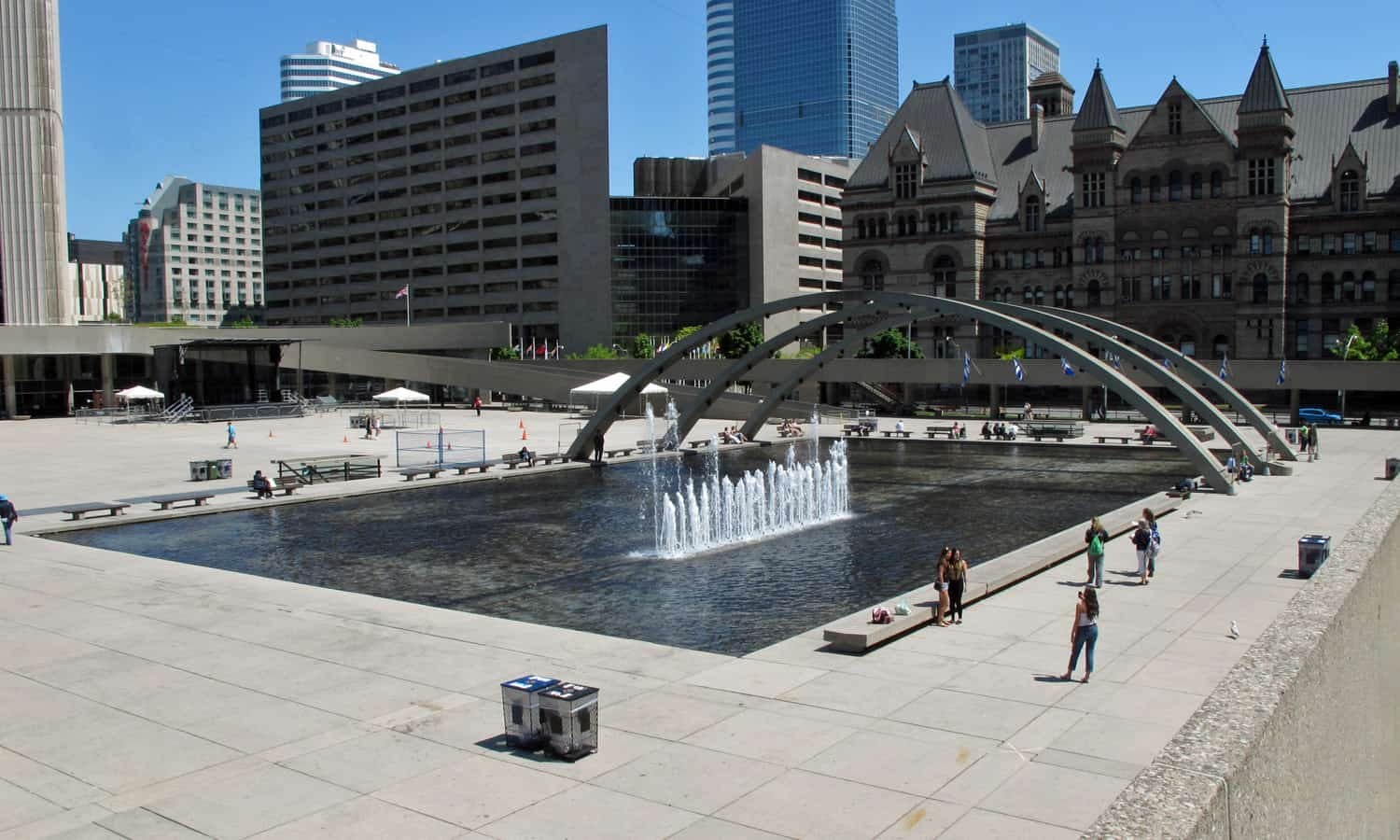 Looking across Nathan Phillips Square with the former City Hall in the background