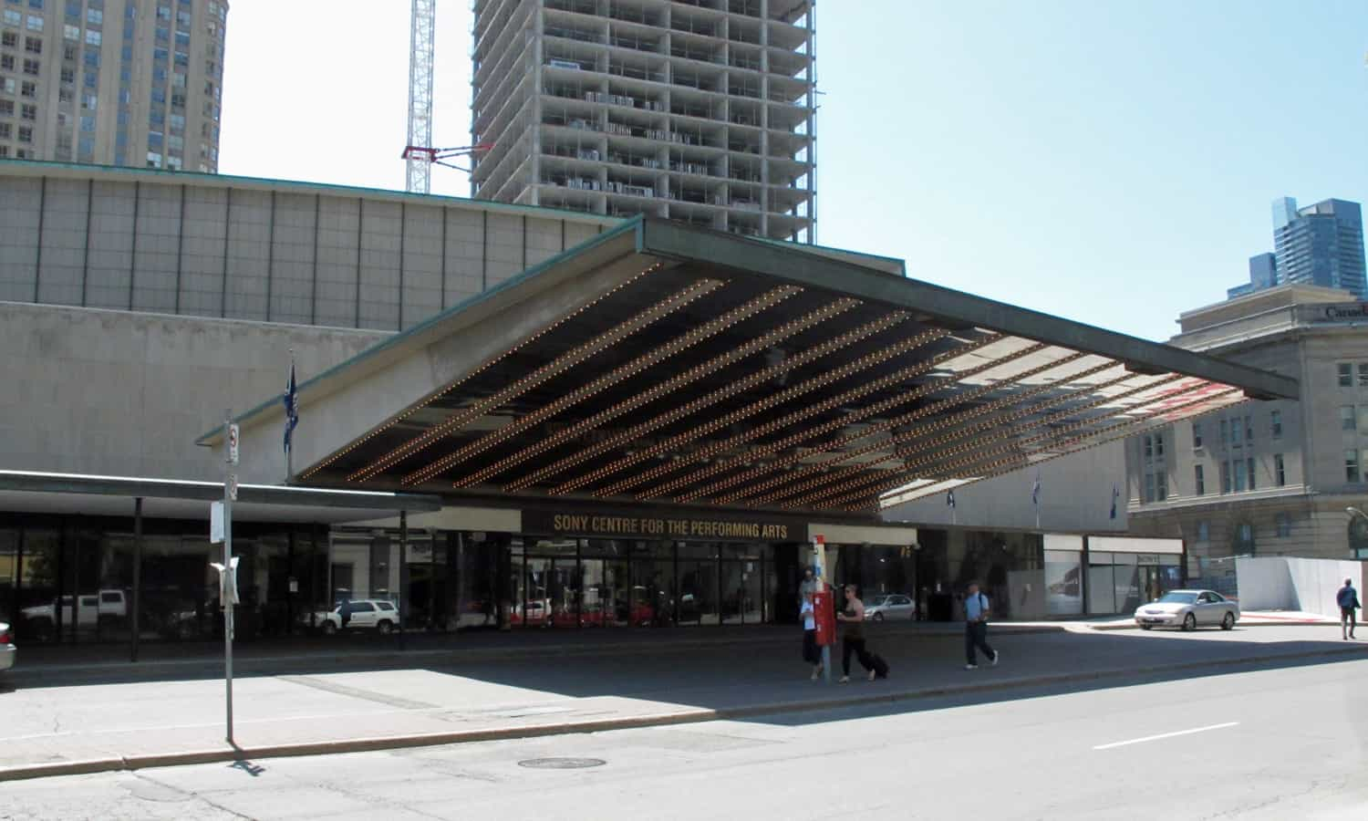 Main entrance under the cantilevered canopy