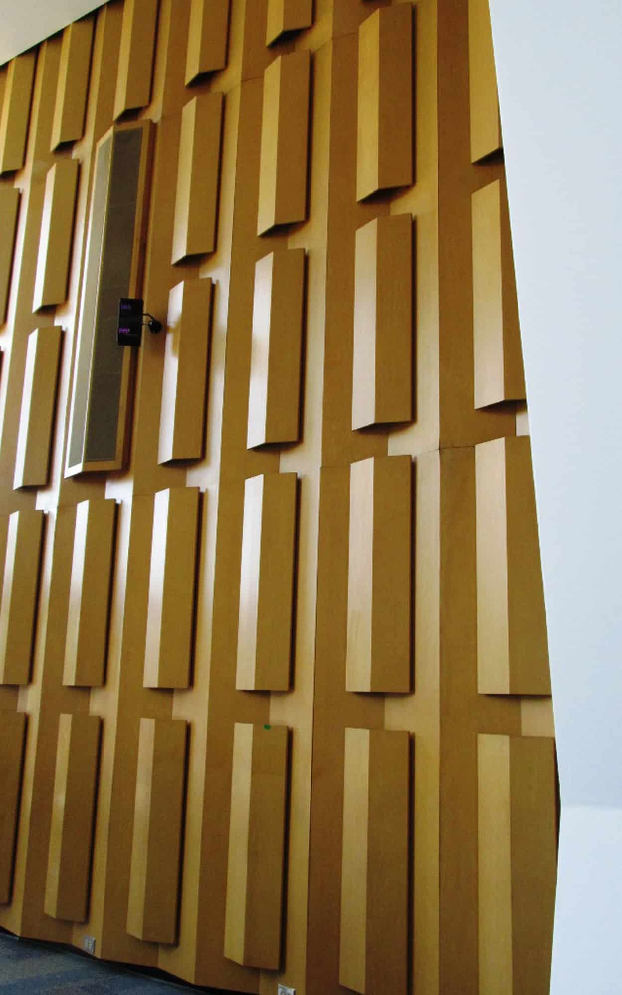 Council chamber sound baffles (maple) - these are a signature design detail of Johnson's