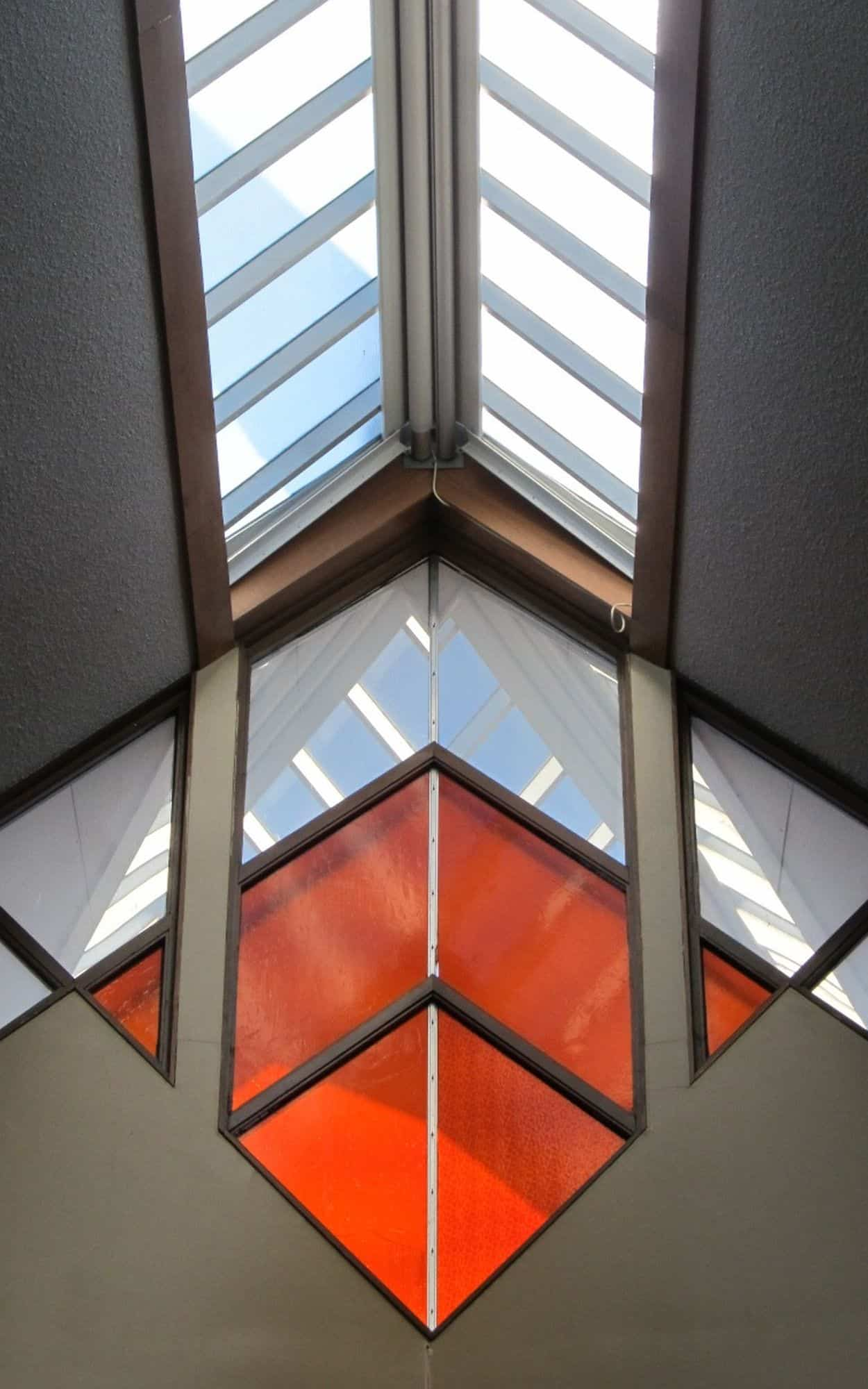 Skylight and stained glass front windows