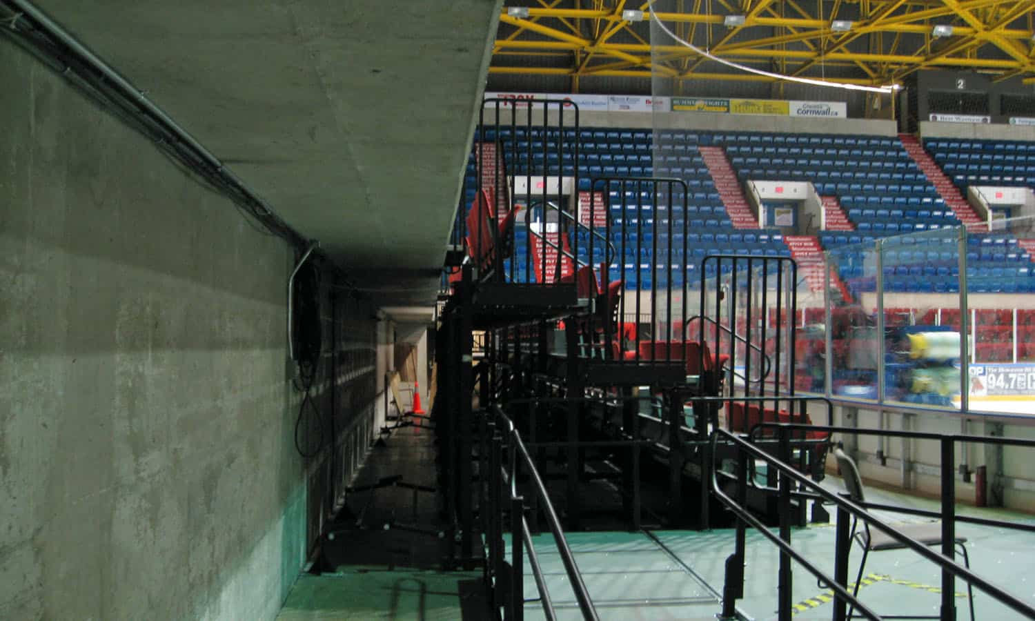 Detail of the moat seating showing the space between the ice surface and the main seating
