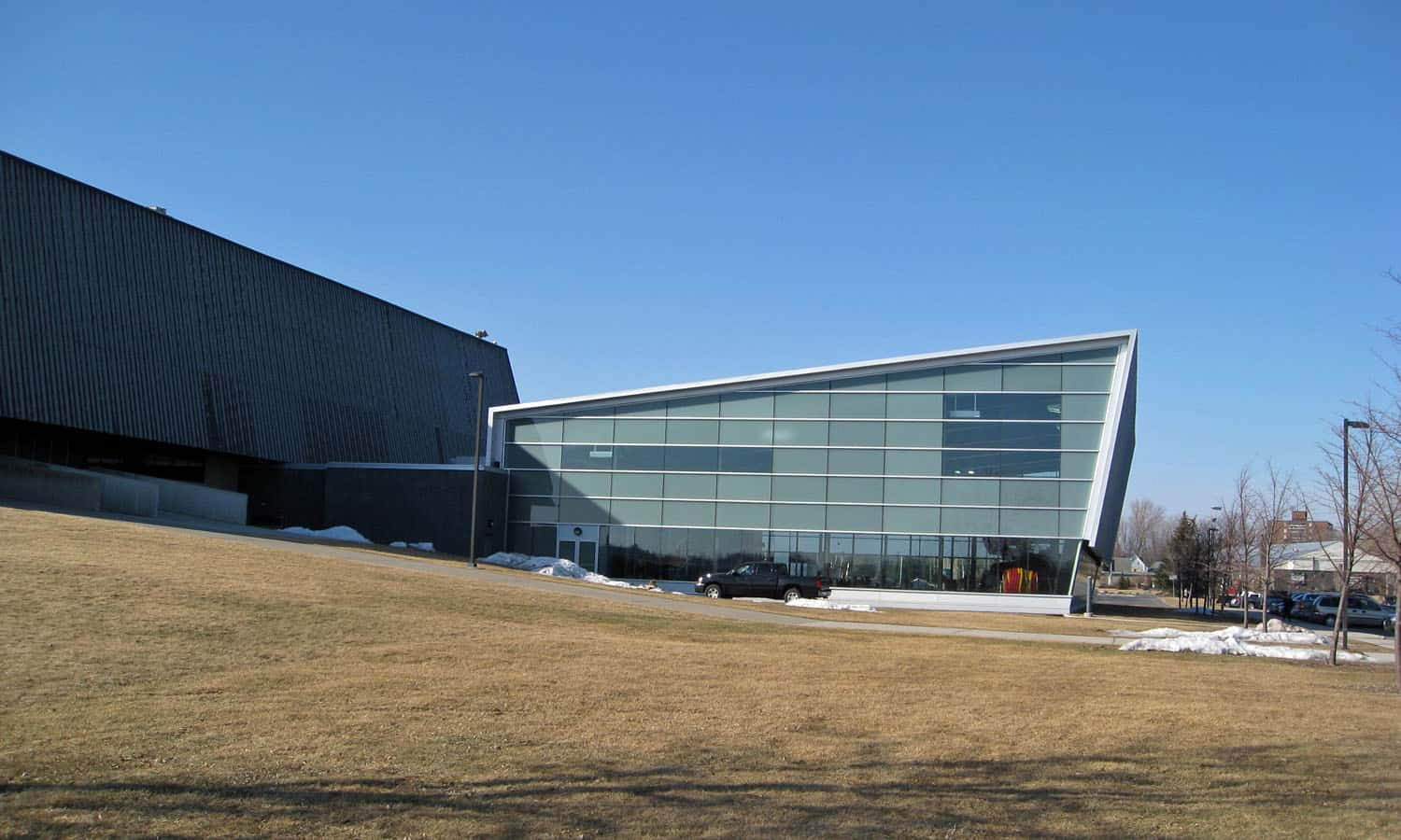 South elevation of the aquatic centre addition