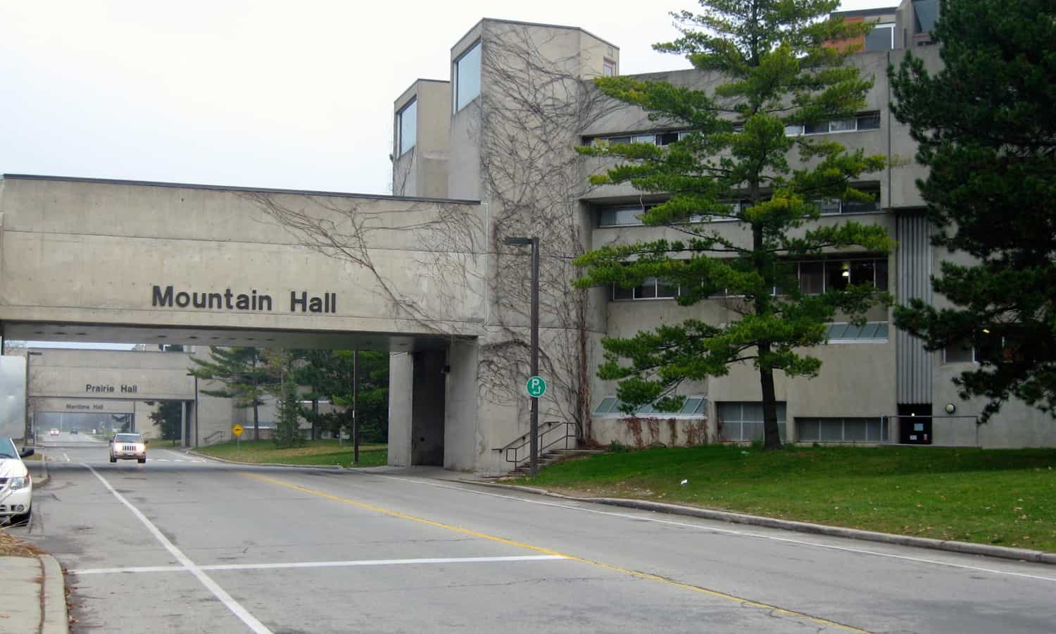 Mountain Hall with its raised walkway linking to the dining area