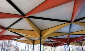 Detail of the underside of the refreshment pavilion roof
