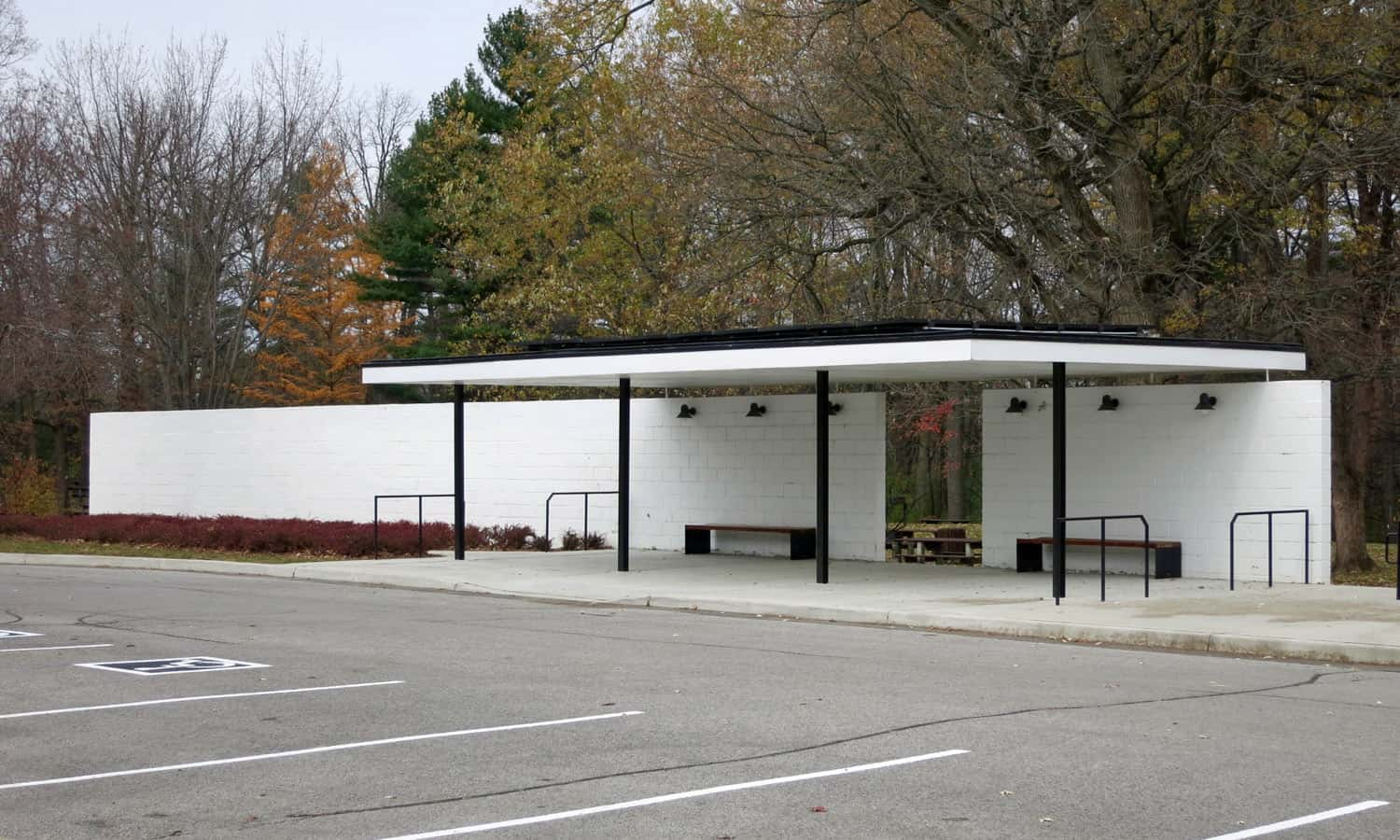 Bus stop pavilion located to the north of the main parking lot