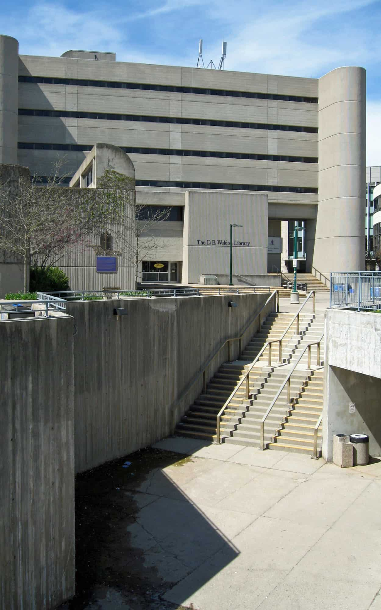 Approaching the building from the east