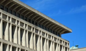 Detail of the Indiana limestone panels cladding the addition