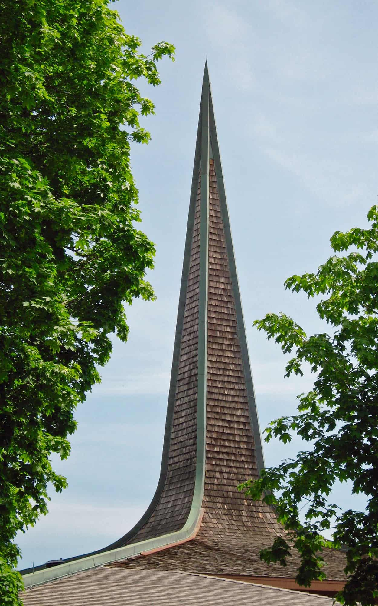 Exterior view of the cedar and copper cladding on the spire
