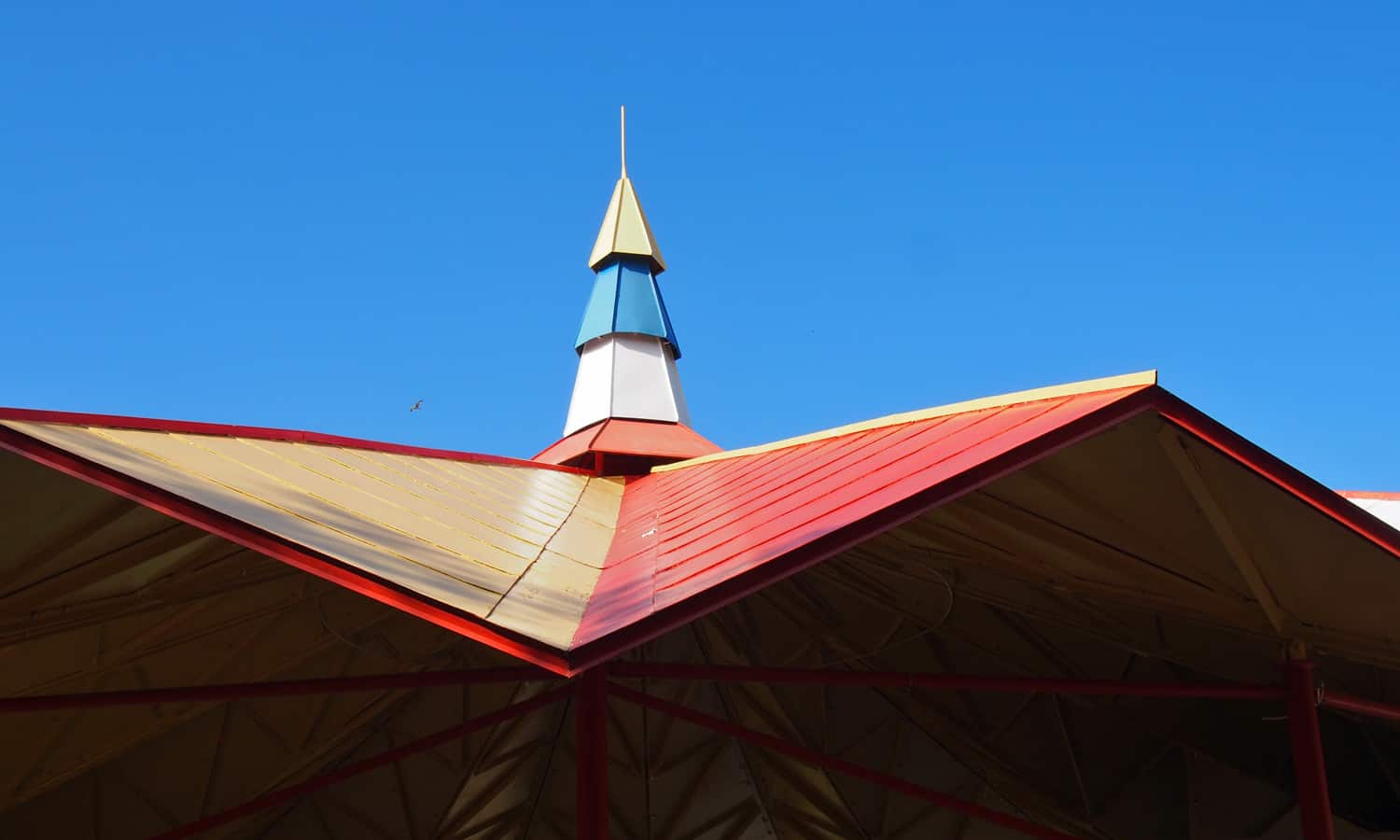 Detail of the pavilion roof top with its festive colours