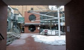 Entering the interior courtyard from Yorkville Avenue