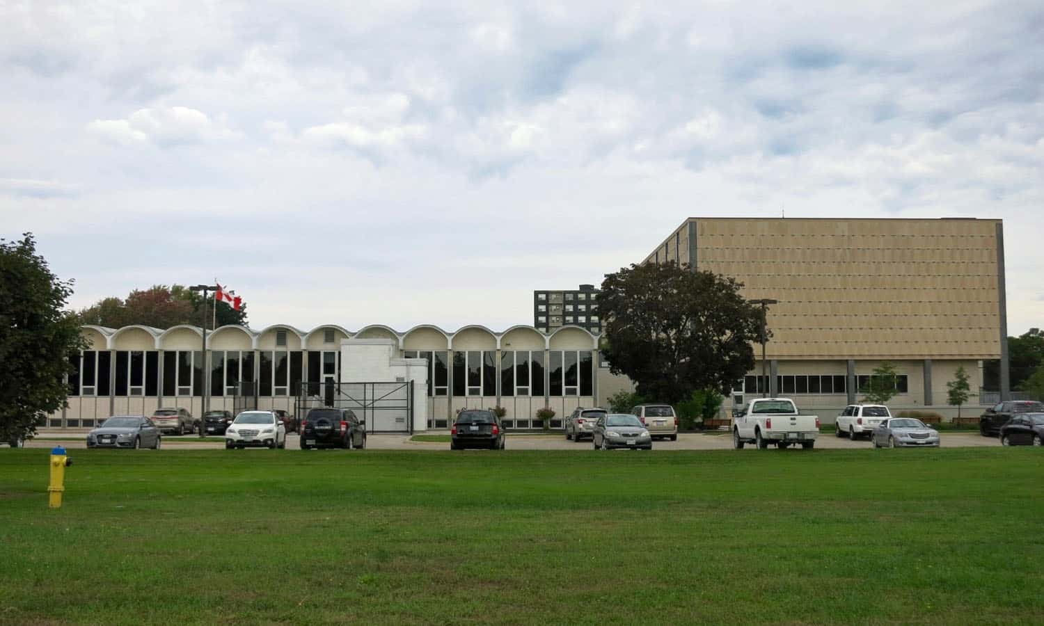 The south elevation of the complex as viewed from the approach to the Bluewater Bridge international border crossing