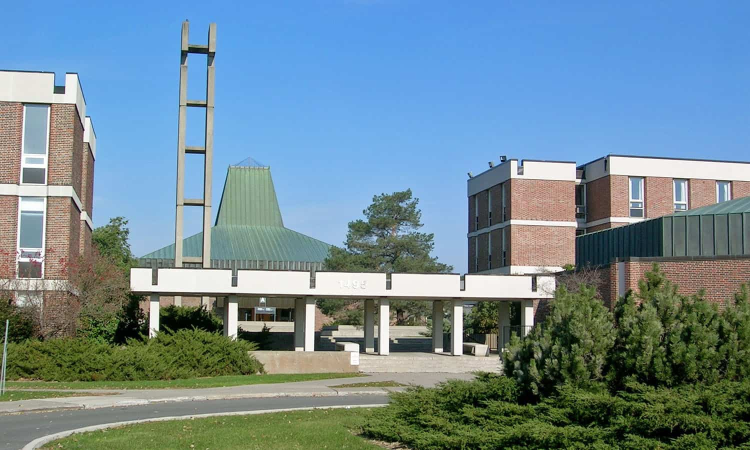 The main entrance to campus with the former chapel beyond