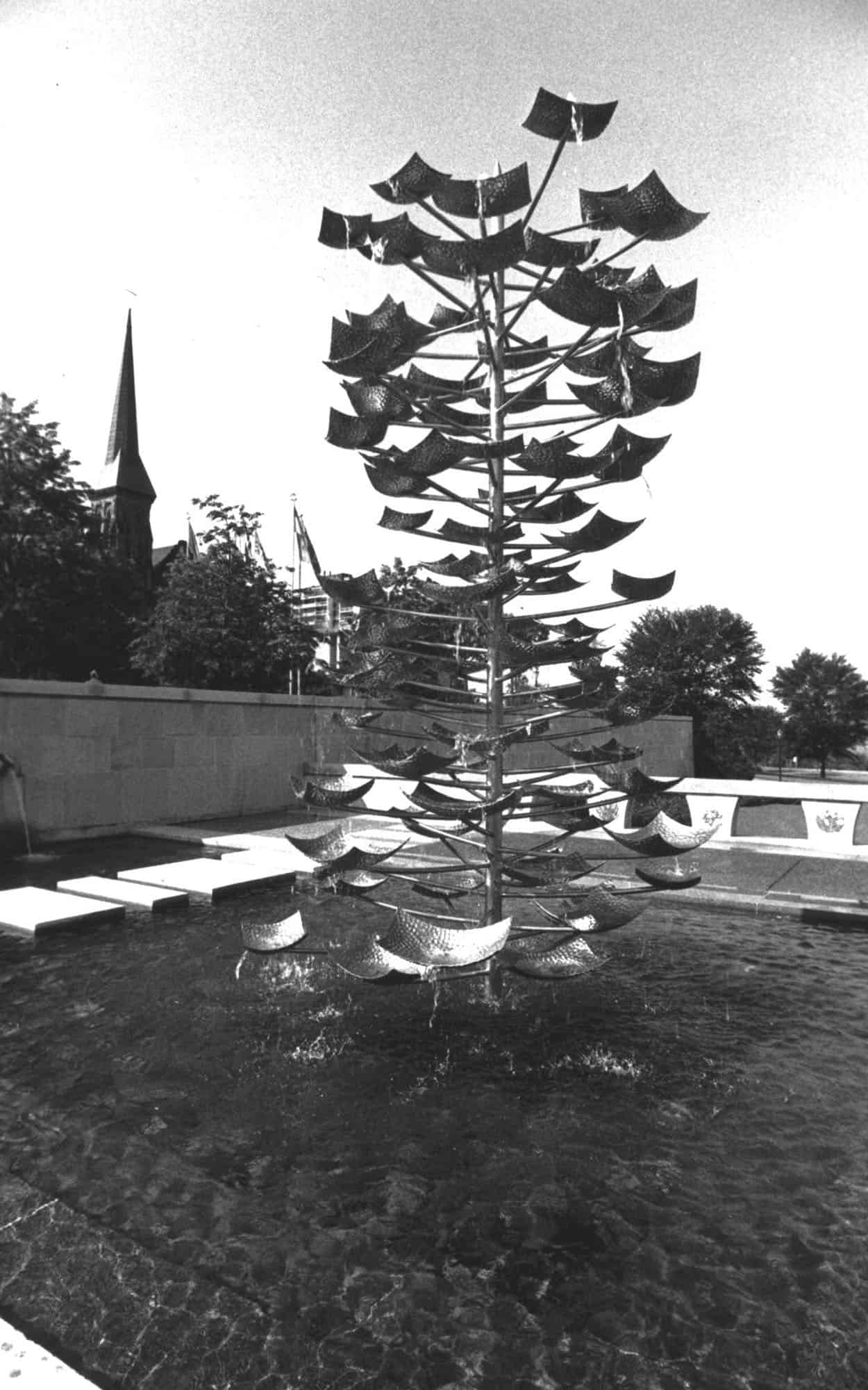 Reflecting pool and Tree Fountain by Norman Slater, looking south-west (Library and Archives Canada PA192672)