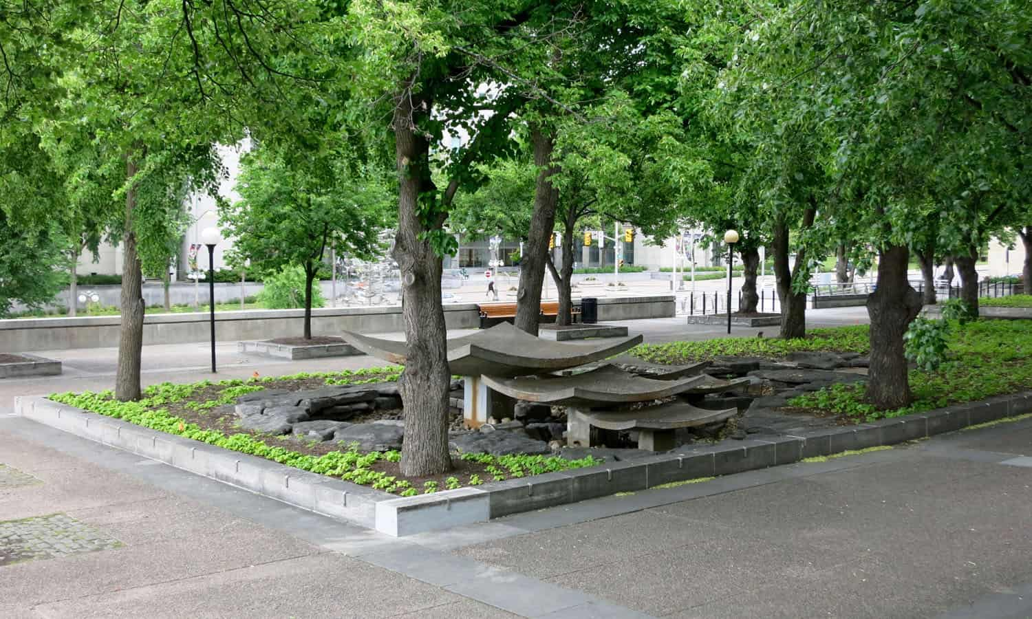 The concrete Fountain of the Great Lakes by Emili G. van der Meulen on the upper terrace