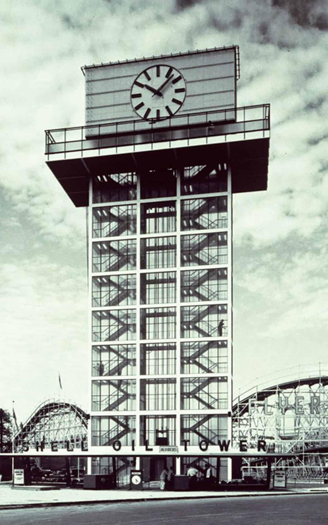 The tower was a visual landmark within the CNE grounds emphasized by its axial relationship with the 1927 Princes' Gate (City of Toronto Archives, Series 1465, Fl0150, id0013)