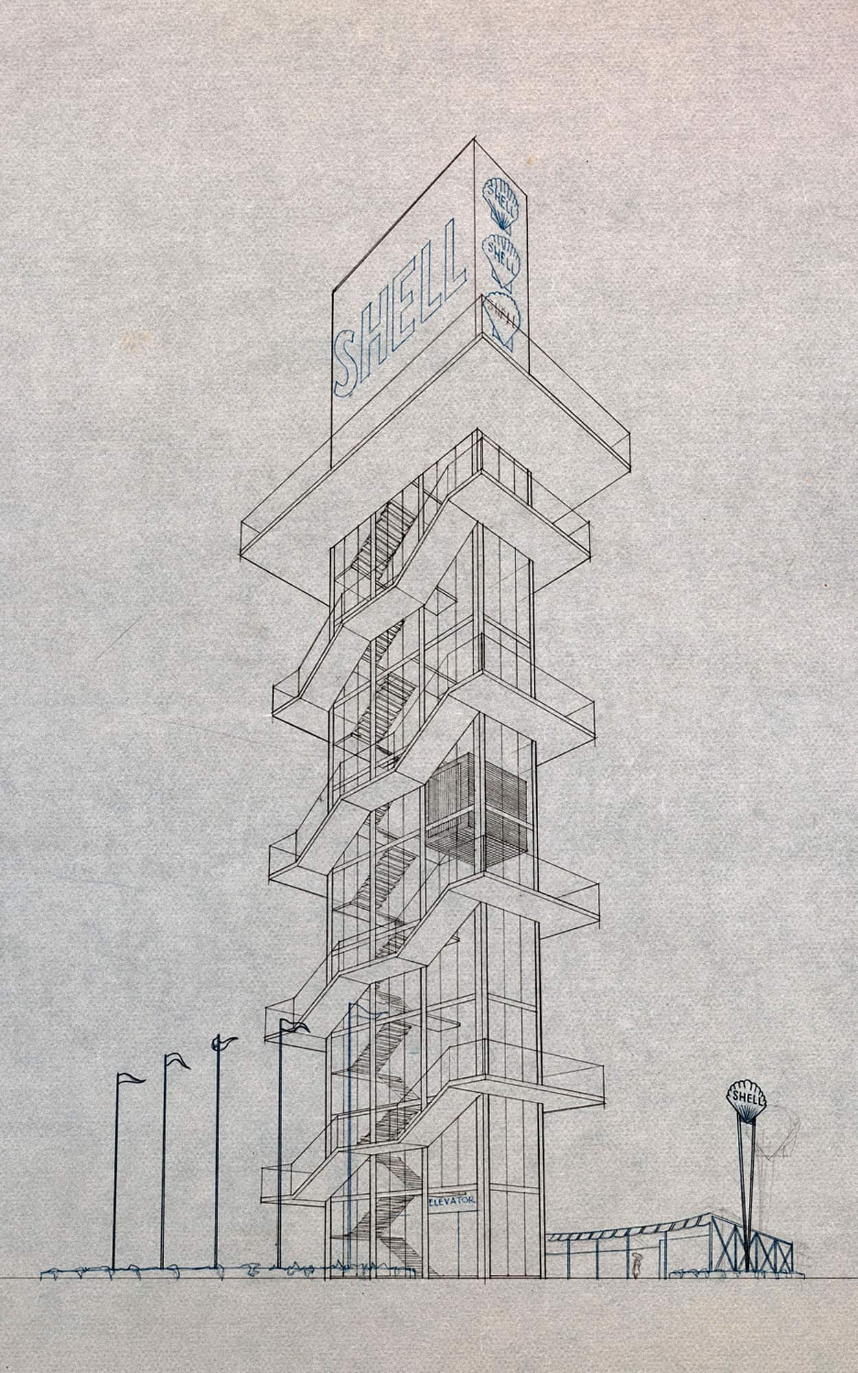 Competition drawing illustrating an external stair wrapping the tower, 1950s (City of Toronto Archives, Fonds 261, Series 1147, File 39, Item 2)