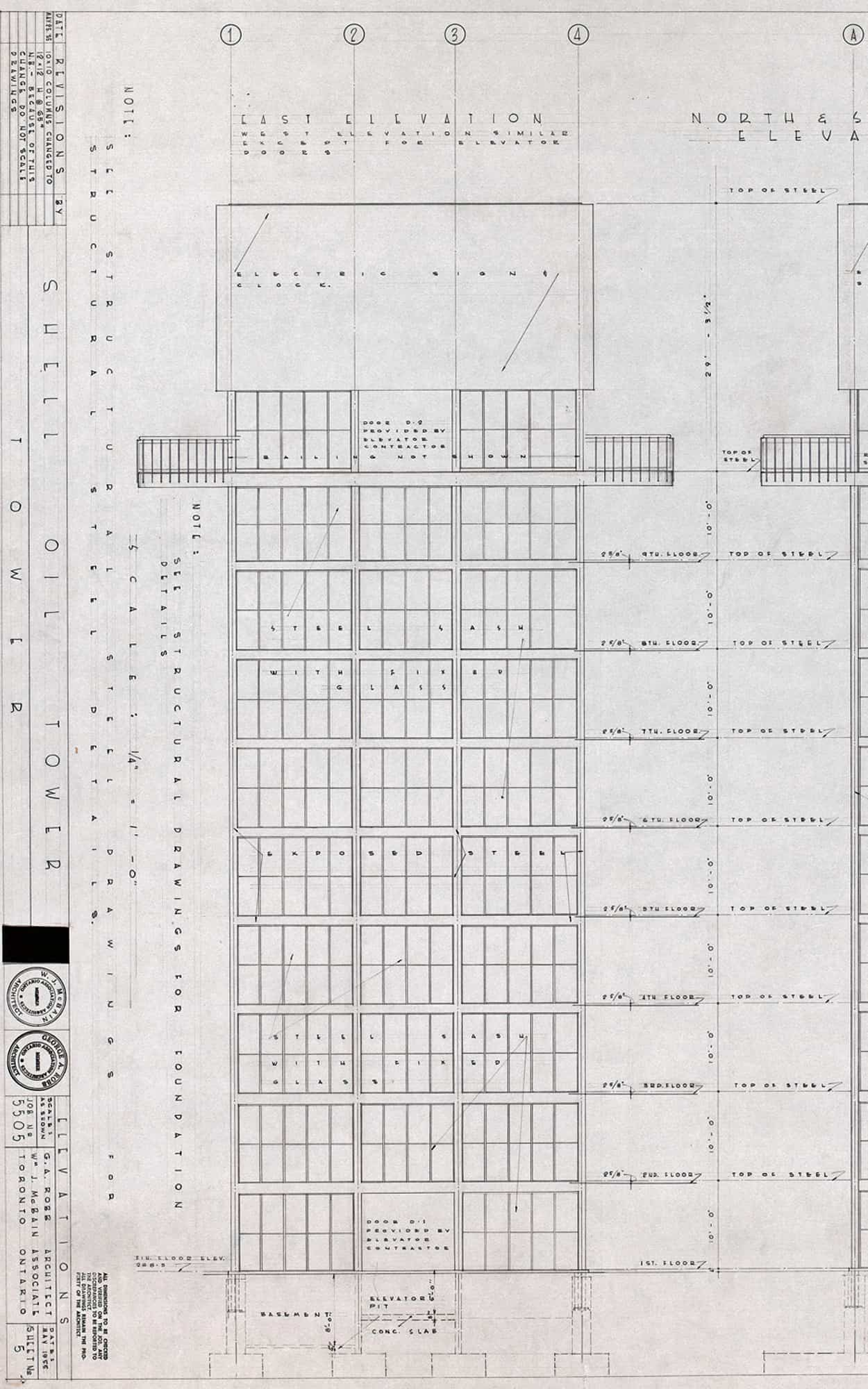 Construction drawing illustrating the minimal, engineered quality of the design, 1955 (City of Toronto Archives, Fonds 261, Series 1147, File 39, Item 1)